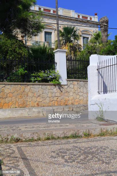 sotirios anargyros mansion at spetses island, greece - spetses stock pictures, royalty-free photos & images