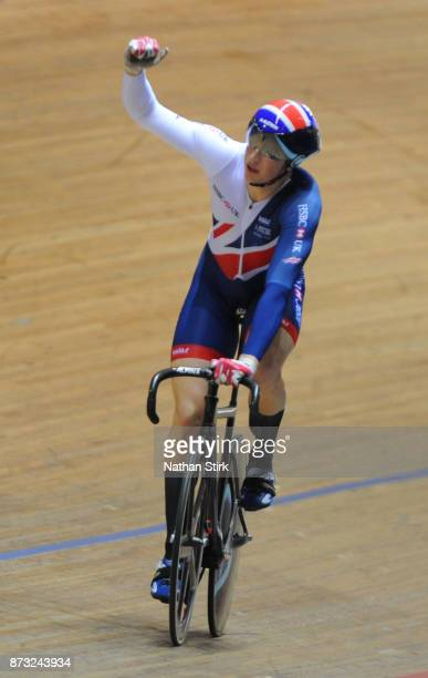 Sotirios Bretas of Great Britain celebrates after winning the Mens Keirin during the TISSOT UCI Track Cycling World Cup at National Cycling Centre on...