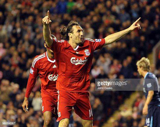 Sotirios Kyrgiakos of Liverpool celebrates after scoring the third during the Barclays Premier League match between Liverpool and West ham United at...