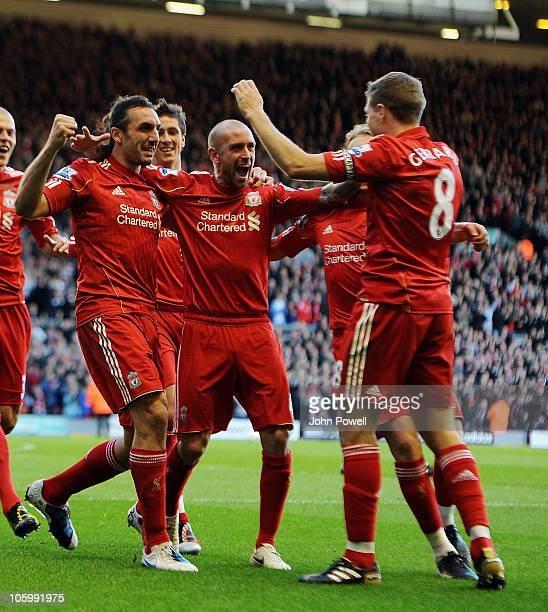 Sotirios Kyrgiakos of Liverpool celebrates his goal during the Barclays premier league match between Liverpool and Blackburn Rovers at Anfield on...