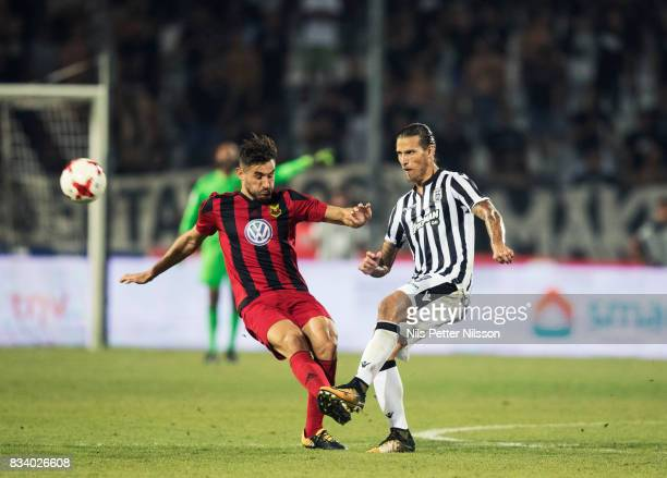 Sotirios Papagiannopoulus of Oestersunds FK and Aleksandar Prijovic of PAOK Saloniki FC competes for the ball during the UEFA Europa League...