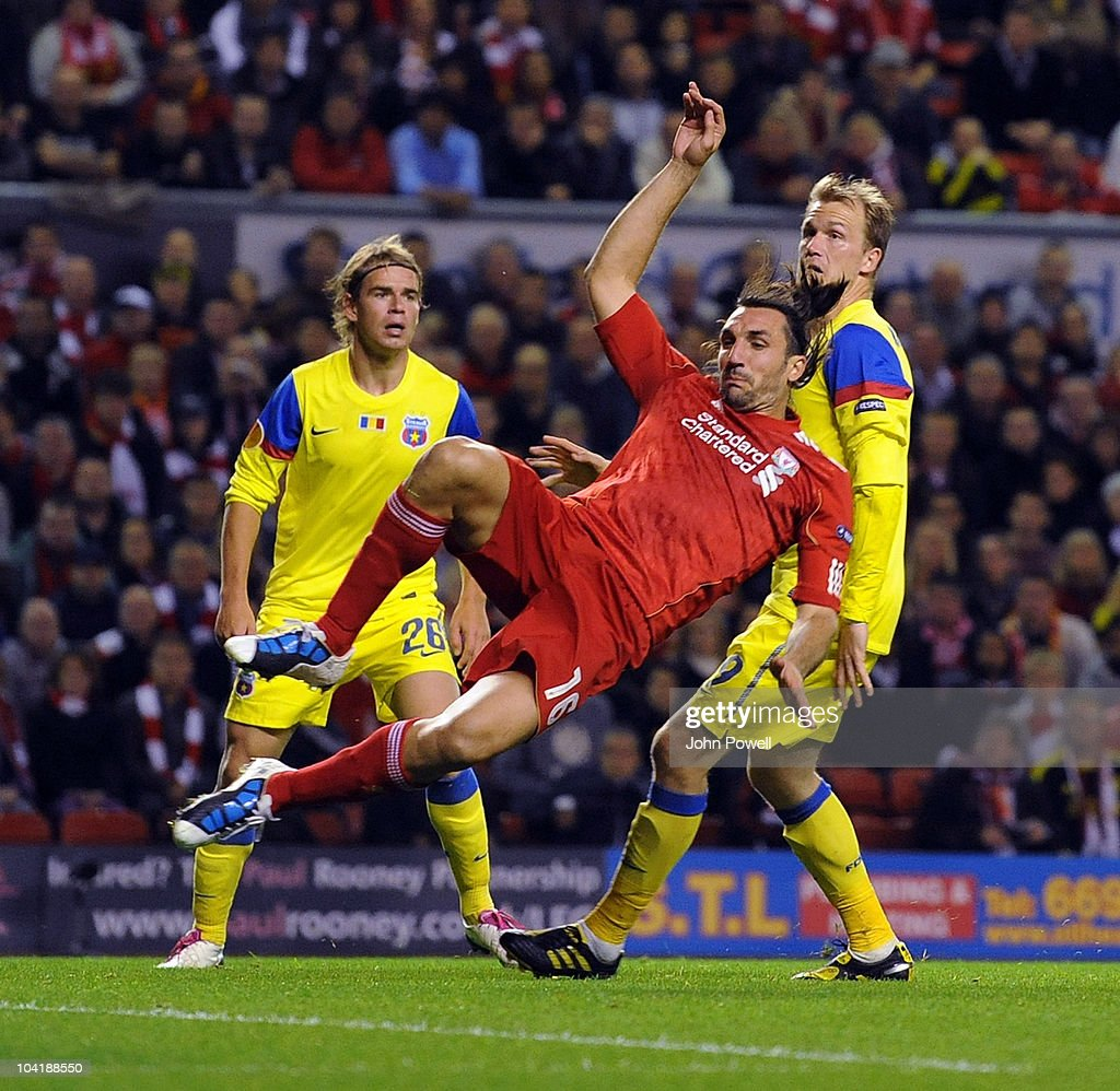 Sotiris Kyrgiakos of Liverpool brought down in the box for a penalty during the first leg UEFA Europa League match between Liverpool and Steau Bucharest on September 16, 2010 in Liverpool, England.