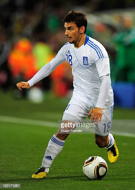 Sotiris Ninis of Greece in action during the 2010 FIFA World Cup South Africa Group B match between Greece and Nigeria at the Free State Stadium on...