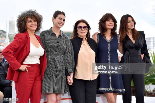 Souad Amidou Tess Lauvergne Anouk Aimee Marianne Denicourt and Monica Bellucci attend the photocall for The Best Years of a Life during the 72nd...