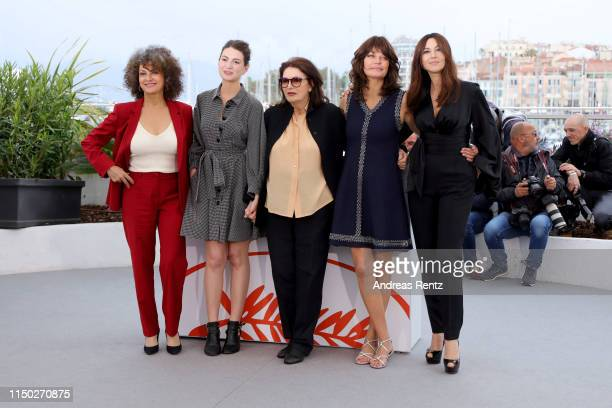 """Souad Amidou, Tess Lauvergne, Anouk Aimee, Marianne Denicourt and Monica Bellucci attend the photocall for """"The Best Years of a Life """" during the..."""