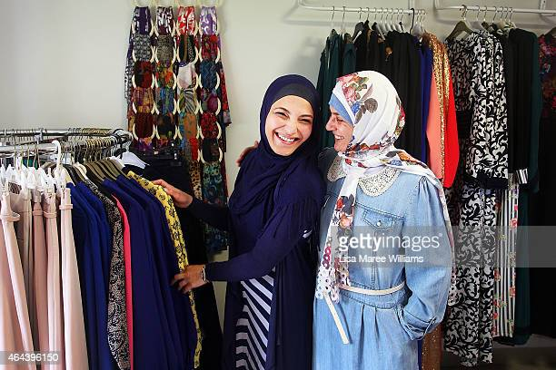 Souad Asfour and Nahla Zahab shop at Sara Elmir's home clothing studio on December 4 2014 in Bankstown Australia Sara Elmir 26 and mother of two is a...