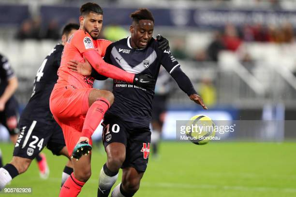 Soualiho Meite of Bordeaux and Youssef Ait Bennasser of Caen during the Ligue 1 match between FC Girondins de Bordeaux and SM Caen at Stade Matmut...
