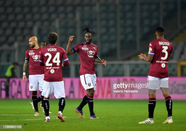 Soualiho Meite of Torino F.C. Celebrates after scoring his sides second goal during the Serie A match between Torino FC and UC Sampdoria at Stadio...