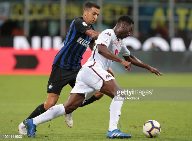 Soualiho Meite of Torino FC is challenged by Matias Vecino of FC Internazionale during the serie A match between FC Internazionale and Torino FC at...