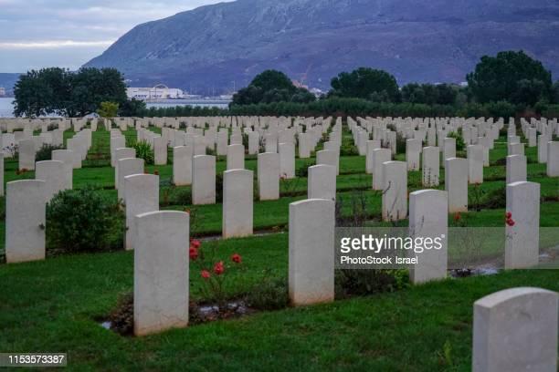 souda bay war cemetery, crete - greece wwii stockfoto's en -beelden