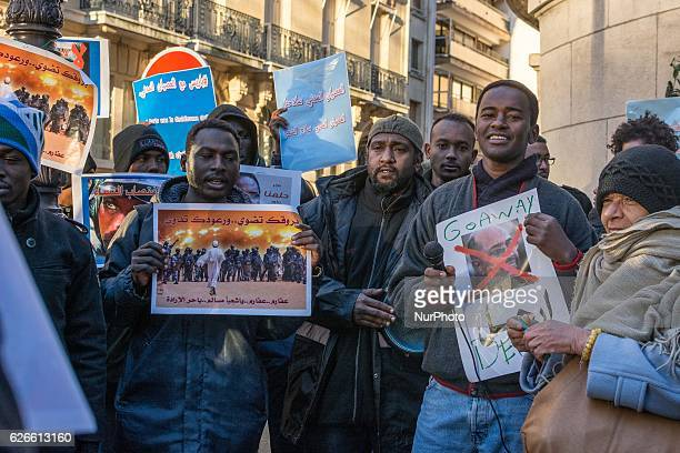 Soudanese gathered in front of Sudan Embassy in Paris on November 29 to protest against the president Omar ElBechir