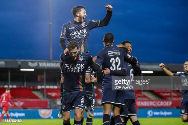 Souffian El Karouani of NEC, Javier Vet of NEC, Rangelo Janga of NEC during the Keukenkampioen Divisie Play-Offs Promotion match between Almere City...