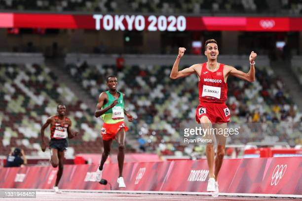 Soufiane El Bakkali of Team Morocco reacts as he wins the gold medal in the men's 3000 metres steeplechase on day ten of the Tokyo 2020 Olympic Games...