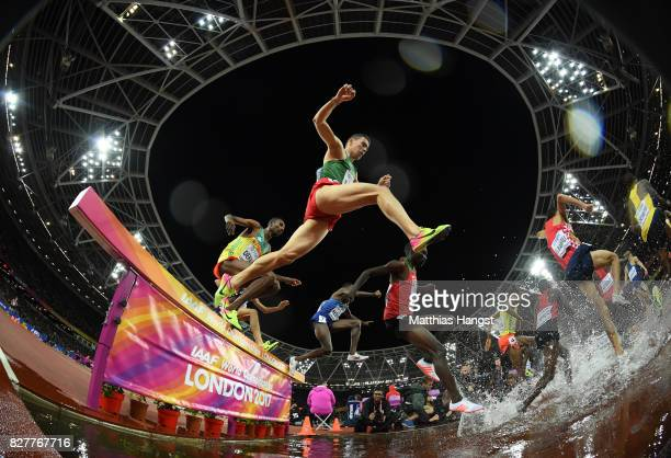 Soufiane Elbakkali of Morocco and others compete in the Men's 3000 metres Steeplechase final during day five of the 16th IAAF World Athletics...