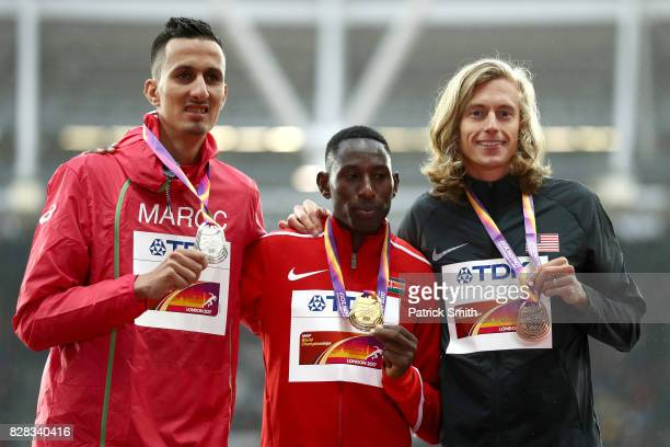Soufiane Elbakkali of Morocco silver Conseslus Kipruto of Kenya gold and Evan Jager of the United States bronze pose with their medals for the Men's...