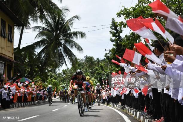 Soufiane Sahbaoui of VIB Bikes Bahrain leads the peloton during stage 6 of the Tour de Singkarak 2017 Pariaman CityPasaman Barat 1457 km on November...