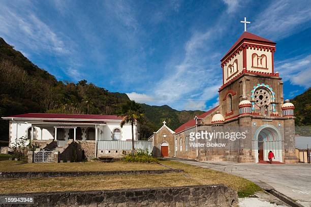 soufriere, dominica, stone church - dominica stock pictures, royalty-free photos & images
