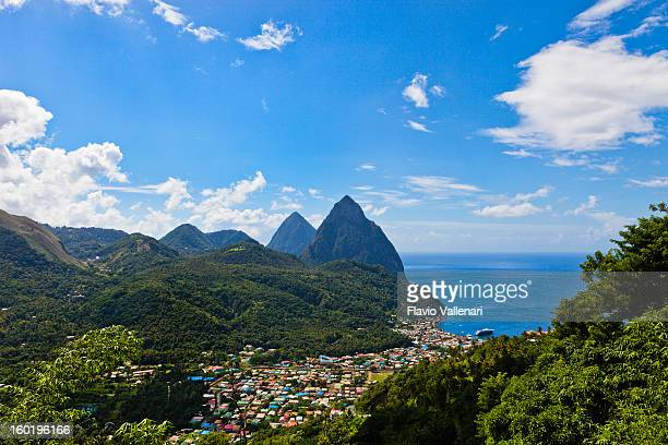 soufrière and pitons, st. lucia - st. lucia stock pictures, royalty-free photos & images