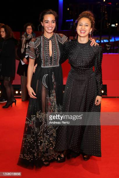 Souheila Yacoub wearing Dior and Oulaya Amamra pose at the The Salt of Tears premiere during the 70th Berlinale International Film Festival Berlin at...
