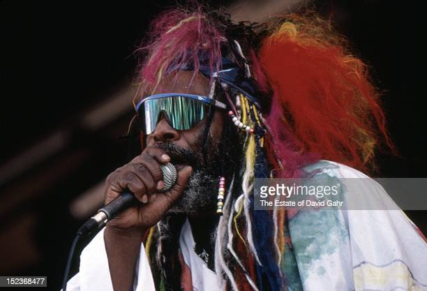 Soul and funk singer composer and bandleader George Clinton performs in August 1997 at the New Orleans Jazz and Heritage Festival in New Orleans...