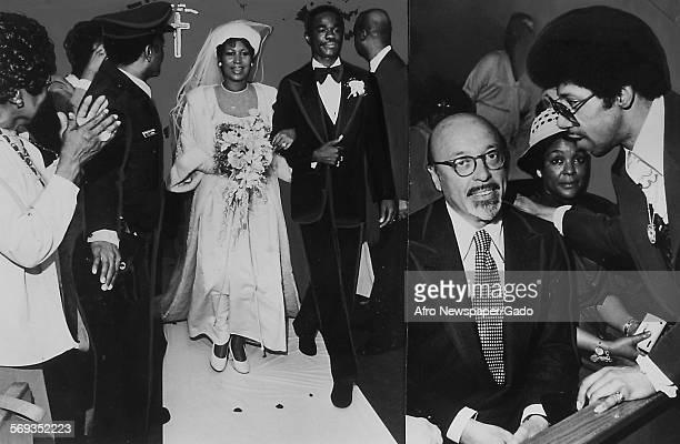 Soul music singer Aretha Franklin and Glynn Turman during their wedding April 11 1978