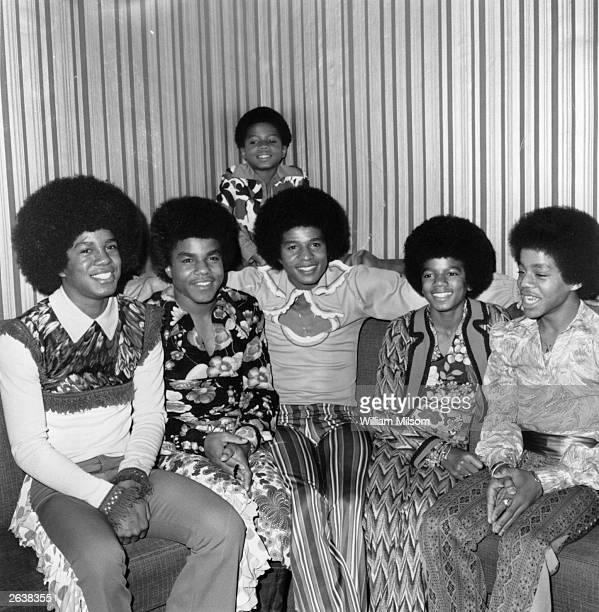 Soul pop group the Jackson Five comprising of the Jackson brothers Jermaine Tito Jackie Michael Marlon and at the back Randy