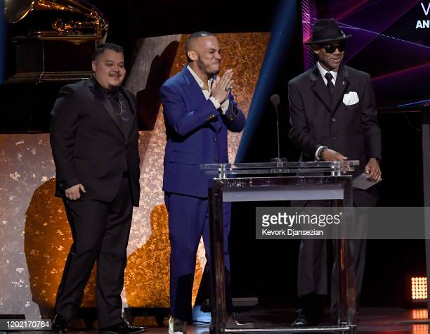 Soul Rasheed and Anderson Paak accept the Best RB Performance award for Coming Home [ft Andre 3000] onstage from Jimmy Jam during the 62nd Annual...
