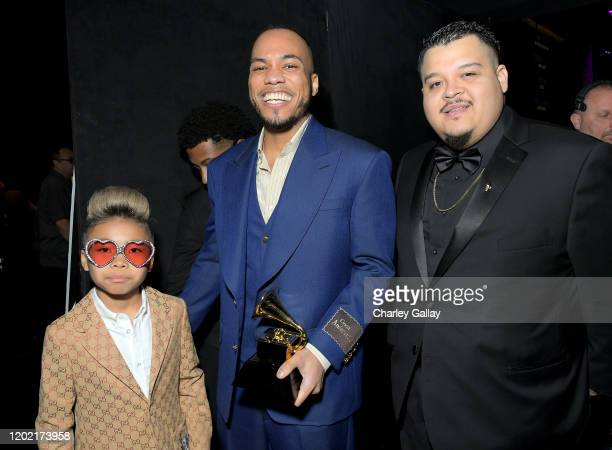 Soul Rasheed and Anderson Paak winner of Best RB Performance for Coming Home pose backstage during the 62nd Annual GRAMMY Awards Premiere Ceremony at...
