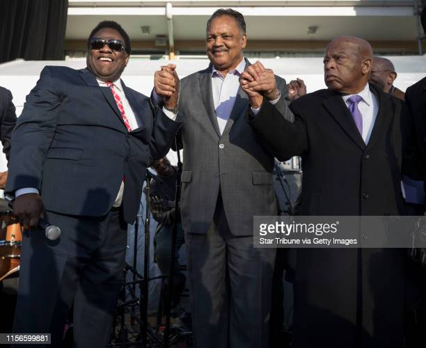 Soul singer Al Green left, the Rev. Jesse Jackson and U.S. Representative for Georgia's 5th congressional district, John Lewis at the National Civil...