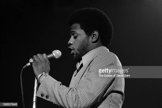 Soul singer Al Green performs in February 1973 for ABCTV's In Concert series filmed at the Bananafish Theater in Brooklyn New York