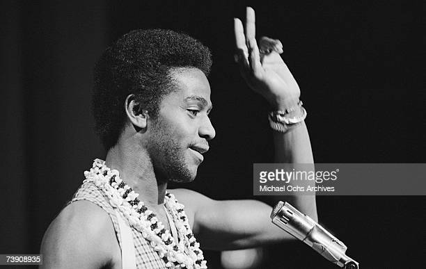 Soul singer Al Green performs onstage on February 6, 1974 in Los Angeles, California.