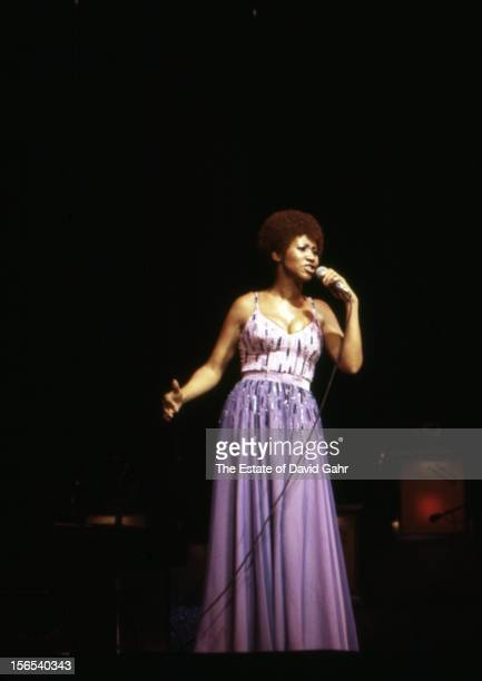 Soul singer and musician Aretha Franklin performs in November 1974 at Radio City Music Hall in New York City New York