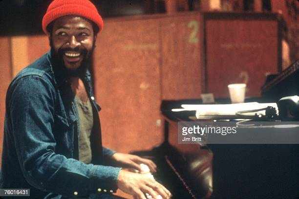 Soul singer and songwriter Marvin Gaye at Golden West Studios in 1973 in Los Angeles California