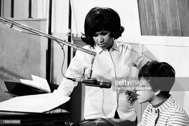 Soul singer Aretha Franklin and her sister singer Carolyn Franklin recording in the studios of Atlantic Records in December 1967 in New York City New...