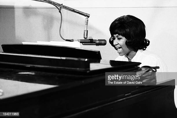 Soul singer Aretha Franklin at the piano recording in the studios of Atlantic Records in December 1967 in New York City New York