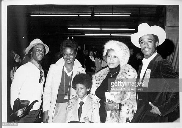 Soul singer Aretha Franklin attends the Hollywood Christmas Parade with her husband actor Glynn Turman and son Kecalf Franklin in December 1978 in...