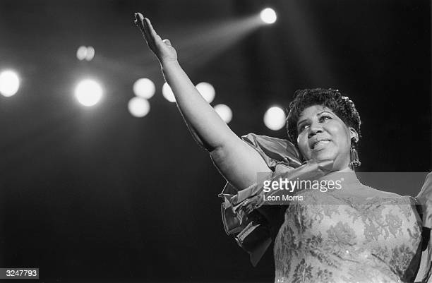 Soul singer Aretha Franklin performing at the New Orleans Jazz Festival