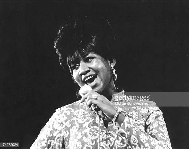 Soul singer Aretha Franklin performs onstage in circa 1968