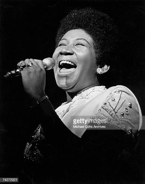 Soul singer Aretha Franklin performs onstage in circa 1969