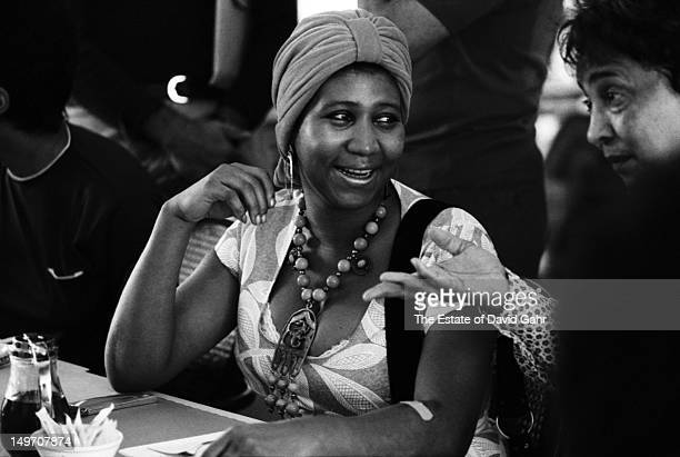 Soul singer Aretha Franklin poses for a portrait backstage at the Newport Jazz Festival in July 1971 in Newport Rhode Island