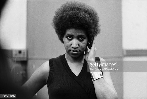 Soul singer Aretha Franklin poses for a portrait during a recording session on April 24 1973 at the Atlantic Records studios in New York City New York