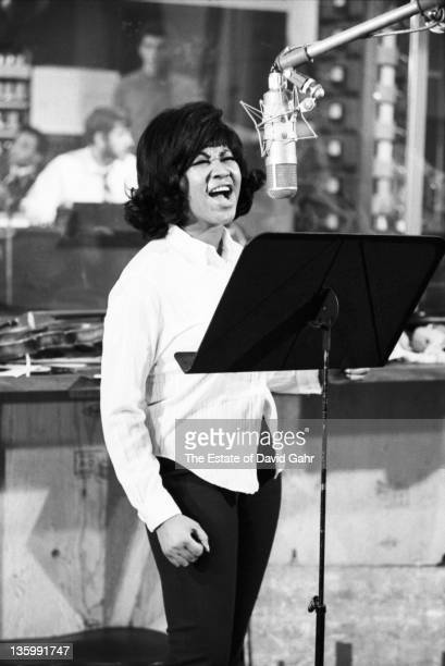 Soul singer Aretha Franklin recording in the studios of Atlantic Records in December 1967 in New York City New York