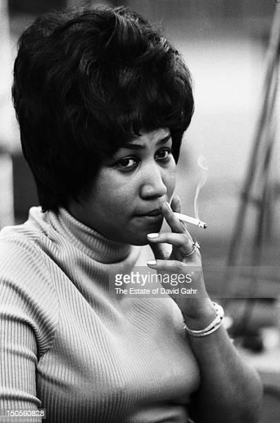Soul singer Aretha Franklin recording in the studios of Atlantic Records in April 1968 in New York City New York