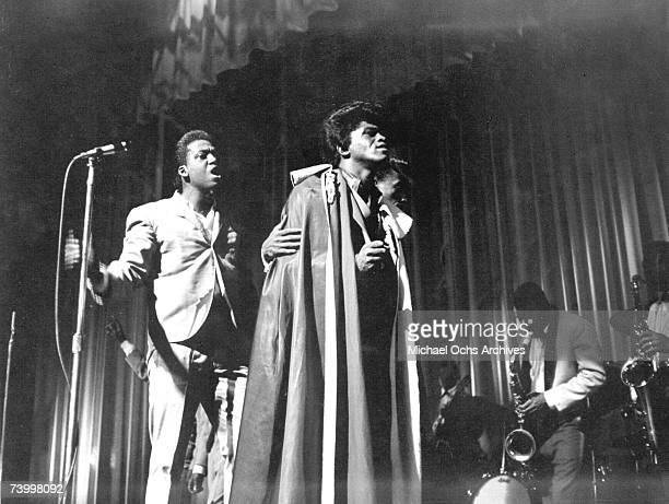 Soul singer James Brown performs at the Apollo Theatre in New York New York