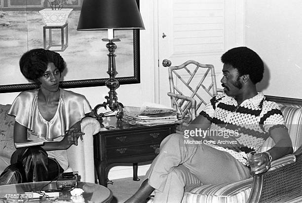 Soul singer Johnnie Taylor gets interviewed at the Beverly Hills Hotel on July 10 1972 in Los Angeles CA