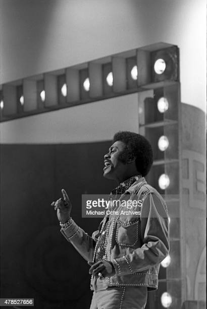 Soul singer Johnnie Taylor performs onstage on the TV show American Bandstand on September 29 1973 in Los Angeles CA