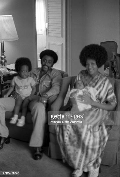 Soul singer Johnnie Taylor poses for a portrait with his wife Gerlean Rockett and their children on September 29 1973 in Los Angeles CA
