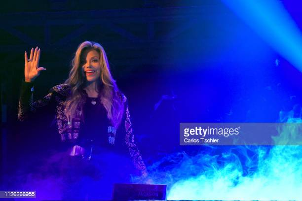 Soul singer La Toya Jackson poses for photos during the press conference of the show 'Forever The Best Show About The King of Pop' at Centro Cultural...