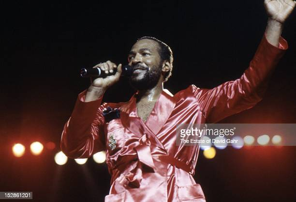 Soul singer Marvin Gaye performs at Radio City Music Hall in May 1983 in New York City New York