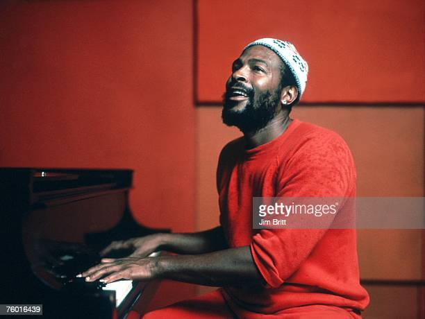 Soul singer Marvin Gaye plays piano as he records in a studio in circa 1974